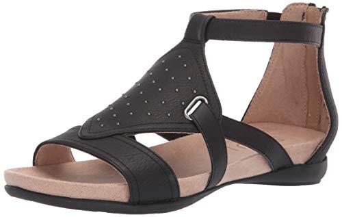Natural Soul Women's AVONLEE Flat Sandal, Black, 7.5 W US