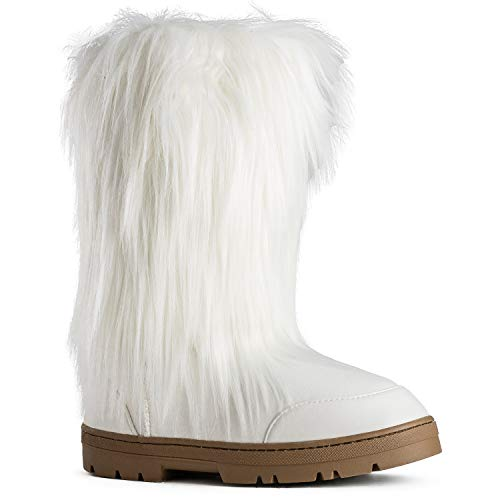Women's Vegan Faux Long Fur Mid Calf Slip On Round Toe Lug Sole Eskimo Winter Boots White (9)
