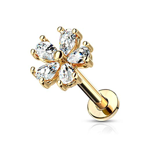 Forbidden Body Jewelry 16g 8mm Internally Threaded Cartilage, Tragus, Labret & Monroe Stud w/CZ Floral Top, 14k Gold Plated 14k Gold Plated Labret