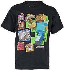 Minecraft Camiseta Steve and Friends Color Negro para Niños