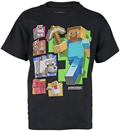 Minecraft Camiseta Steve and Friends Color Negro para Niños
