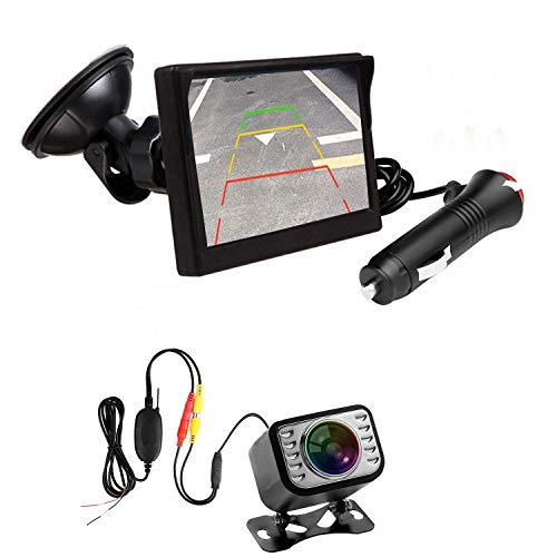 3T6B - Cámara de marcha atrás, kit de vigilancia de vídeo con monitor inalámbrico, visión de ángulo de 170 °, alta definición, 4,3 pulgadas TFT pantalla
