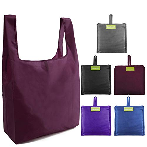 Ripstop Reusable Grocery Bags Set 5, Washable Foldable Shopping Bags,Eco Friendly Reusable Shopping Tote, Light Weight(Grey,Black,Burgundy,Purple,Royal Blue)