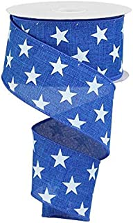 Stars Wired Edge Ribbon - 10 Yards (Royal Blue, White, 2.5 Inches)