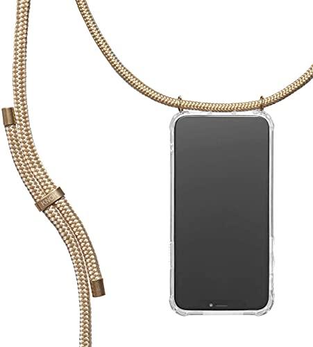KNOK Handykette Kompatibel mit Apple iPhone 13 Pro - Silikon Hülle mit Band - Handyhülle für Smartphone zum Umhängen - Transparent Hülle mit Schnur - Schutzhülle mit Kordel (Gold)