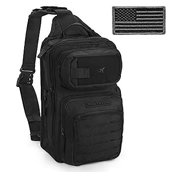 KastKing BlowBak Tactical Fishing Sling Tackle Storage Bag – Lightweight Sling Fishing Backpack - Sling Tool Bag for Fishing Hiking Hunting Camping,Desert Brown,Black