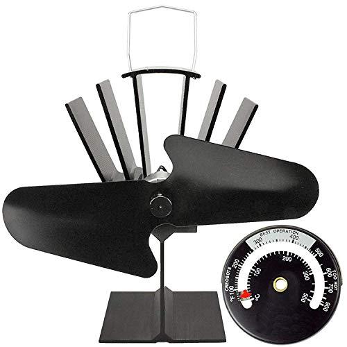 spares2go schwarz Hitze Powered Herdplatte Umweltfreundlich Fan für Holz Brenner, Kohle oder Brennmaterialien Herd (+ magnetischen Thermometer)