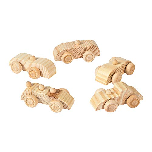 Fun Express Unfinished Wooden Cars (Set of 12 Toys) DIY Crafts- Crafts for Kids and Home Activities