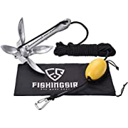 FISHINGSIR Kayak Anchor Accessories 3.3lb Galvanized Iron Folding Boat Anchor for Canoe, Jet Ski, SUP, Paddle Board & Small Boat & 24.6 FT Marine Rope Complete Folding Grapnel Anchor System