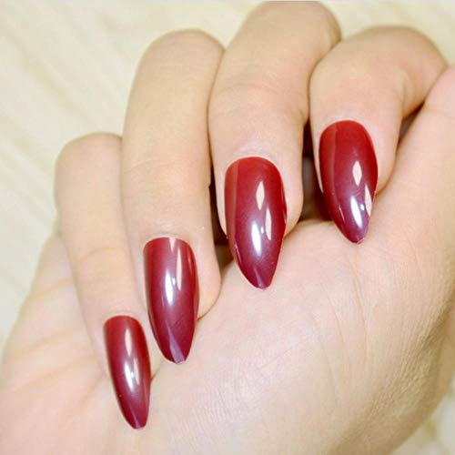 JSIYU Faux ongles Oval Solid Fake Nails Stiletto Full Cover Pointed Pure Color Design False Nail Wear Tips, F132 F