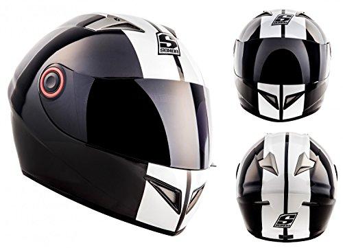 Soxon ST-666  Integral-Helm, ECE Visier Schnellverschluss Tasche, L (59-60cm), Weiß/Deluxe Snow