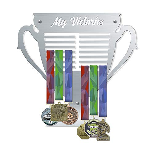 VICTORY HANGERS My Victories Trophy Style Medal Hanger | Wall Mounted Medal Holder | Displays Up to 80 Medals | Elegant Sports Wall Decals | Home Decor | Wall Decoration (V3)