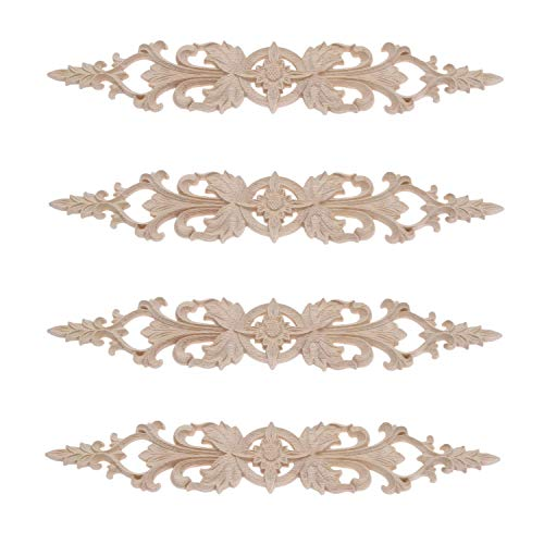 4Pcs Long Wood-Carved Onlays Appliques for Furniture Refurbish Door Center Decoration Home Furniture Bed Door Cabinet Corner Decal Unpainted Craft(33x6cm/12.99'x2.36')