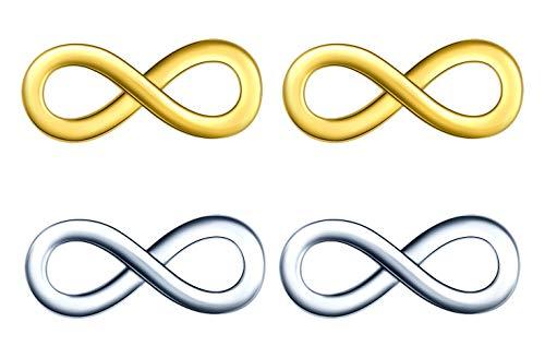 2 Pares Pendientes Mujer Símbolo del infinito Plata de ley 925 Aretes Stud Pendientes Plata & Oro