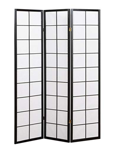 PEGANE Paravent Japonais Grands Carreaux Bois Noir et Papier de Riz - 3 pans - Dim : H 178,6