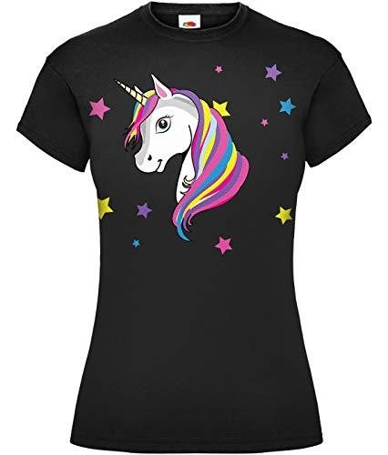 Camiseta mágica de unicornio arcoíris blanco para mujer Negro Negro ( XL