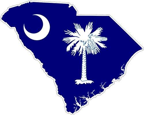 Akachafactory Sticker, zelfklevend, voor auto, vlag, kaart Zuid-Carolin, USA