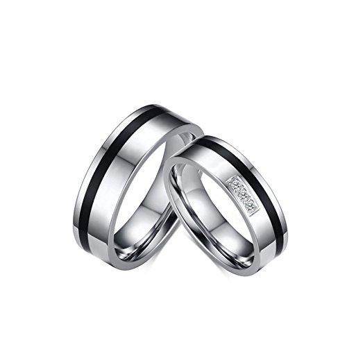 Blisfille 2 Piezas Anillo Mujer Oro Blanco Diamante Acero Inoxidable de Cúbicos Zirconia para Compromiso O Boda Forma Redonda Silver Negro