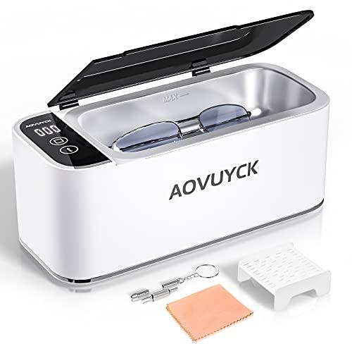 AOVUYCK Limpiador Ultrasonidos, 500ML Limpiador Ultrasónico, 46000 Hz Limpiador Ultrasonido Profesional 4 Modos de Limpieza Temporizador para Gafas, Relojes, Pendientes, Dentaduras, Monedas, Joyas