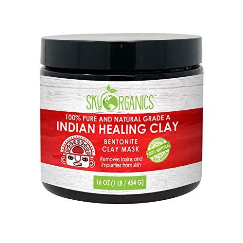 Sky Organics Indian Healing Clay Face Mask 100% Pure & Natural Bentonite Clay...