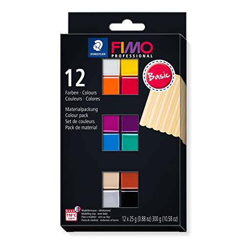 STAEDTLER 8043 C12-1 FIMO - Pasta per modellare professionale in forno con 12 colori assortiti