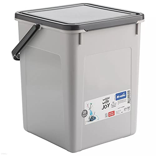 Rotho Cubo de Almacenaje, Envase para Detergentes en Polvo, Almacenamiento de Pastillas para Lavadora Lavavajillas (5 kg - 9 L, Gris)