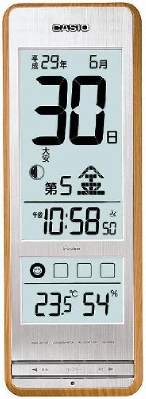 ペチュランス競争宿泊施設カシオ 温度?湿度計付き 生活環境お知らせ 六曜表示 日めくり電波クロック IDL-400NJ-7JF 白木目調 IDL-400NJ-7JF