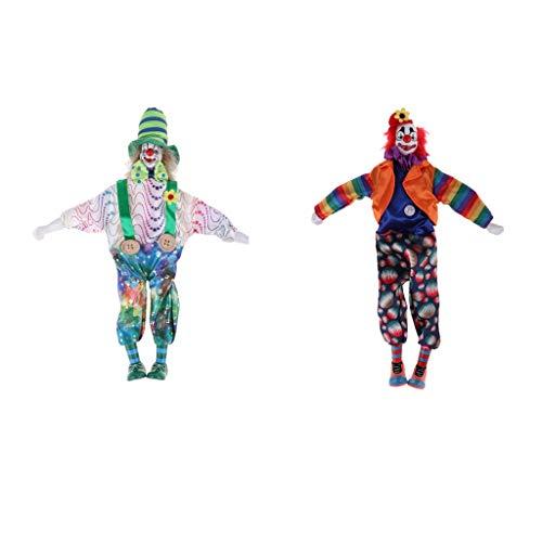 Toygogo 2 Stü 15 Zoll Porzellan Teardrop Clown Puppe Tragen Schöne Outfits, Lustige Harlekin Puppe, Zirkus Requisiten, Halloween Dekor