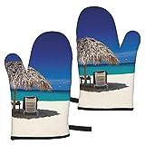 MZZhuBao Jamaica Beach Oven - Set di 2 guanti da cucina resistenti al calore, per barbecue e barbecue, isolati e duraturi