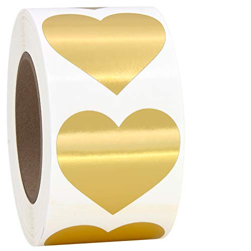 Gold Heart Shaped Sticker Labels, 1 1/2' Diameter, 500 per Roll, 1.5 inch