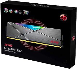 XPG DDR4 D50 RGB 16GB (2×8GB) 3200MHz PC4-25600 U-DIMM 288-pin ذاكرة سطح المكتب CL16-20-20 كيت تيتانيوم)