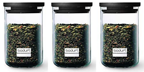 Bodum Yohki Set – 3 Glas, 0,6 l, Kunststoffdeckel, Kunststoff, Schwarz
