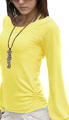 Mississhop Fador Japan Style Moderne Bluse Tunika Longshirt Gelb S