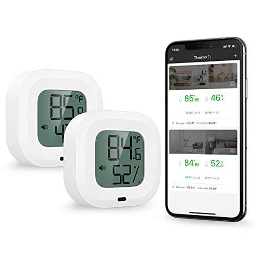ORIA Bluetooth Hygrometer Thermometer, 2 Stück Innen Thermo-Hygrometer Mini mit HD-Bildschirm, Magnetische Anziehung und Alarmfunktion, kompatibel mit IOS/Android, für Wein, Zigarre, Haus etc - 2pcs