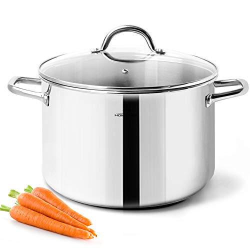 HOMICHEF Stock Pot 6 Quart Nickel Free Stainless Steel - 6 Quart Pot With Lid and Handle - 6Qt Saucepan With Lid - Soup Pot Small Cooking Pot 6 Quart - 6 Qt Pot With Glass Lid - Induction Pot With Lid