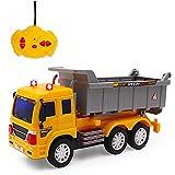 deAO RC LKW funkgesteuerte Baustellenfahrzeug-Serie: 5 Kanäle Fahrzeug mit Geräusch-und Lichteffekten, Anfänger Level (Muldenkipper)