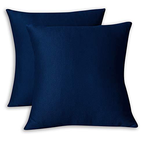 FARFALLAROSSA Copricuscini Fodere per Cuscini Quadrate, Impermeabile e Antimacchia, Decorazione per Divano Casa, 55x55 cm Blu Pacco da 2