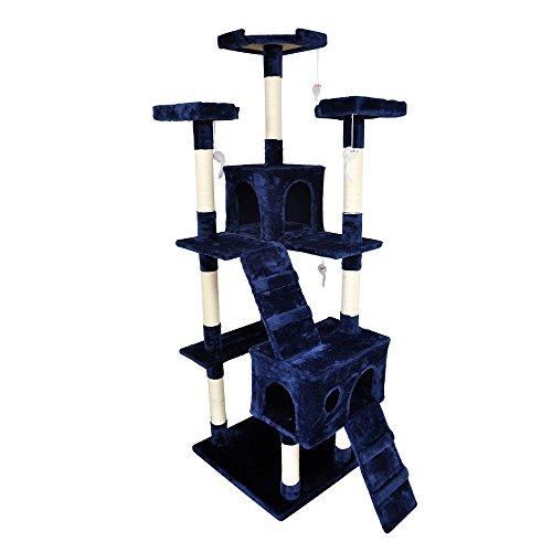 H&K MART キャットタワー 180cm大型猫タワー 据え置き 麻紐 遊び好きな猫ちゃんに合う 隠れ家2つ付き 4匹...