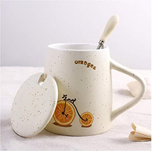 Sticker Decals Behang Creatieve Keramische Cup Mok Fiets Fruit Cup met Deksel met Lepel