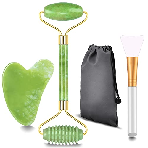 Rodillo de Jade Masajeador Facial, Gua Sha Facial y Cepillo Mascarilla Facial, rodillo masaje, rodillo facial, Natural Real Jade para regalo antienvejecimiento y rejuvenecimiento