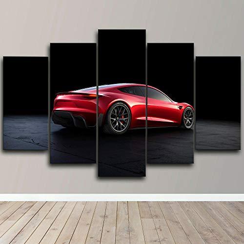 Cuadro sobre Impresión Lienzo 5 Piezas - cuadros en lienzo Coche eléctrico Tesla Roadster 5 piezas con marco Dormitorios Decoración para El Hogar -cuadro pared salon abstracto-Listo para Colgar