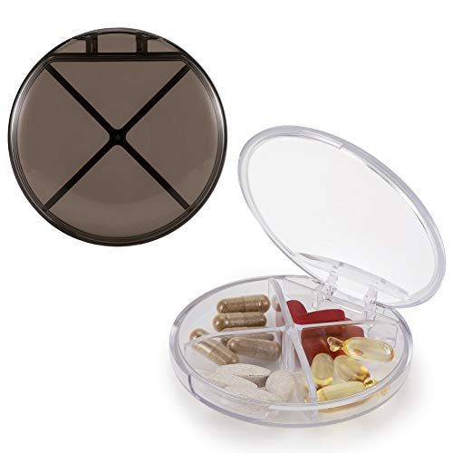HRX Package 2pcs Little Pill Case with 4 Compartments, Portable Pill Box Holder Carrier Small Medicine Organizer for Pocket Purse (Black and Translucent)
