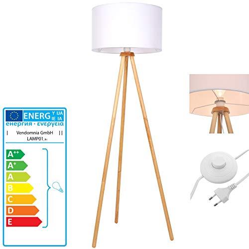 Dreibein Stehlampe - EEK A++ bis E Stoffschirm, Stativ aus Holz, 145cm hoch, Ø45cm, E27 LED - Tripod Standleuchte, skandinavisch Wohnzimmerlampe, Wohnzimmer, Stehleuchte für Schlafzimmer