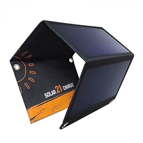 WNTHBJ Pannello Solare Caricatore Solare 21W con Port Impermeabile Pieghevole Campeggio Travel Charger Dual USB, compreso Il Caricatore del Telefono Mobile (5 Pezzi)