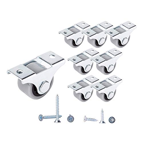 Set di 8 ruote in gomma da 25 mm con ruote in gomma da 25 mm, con piastra di montaggio in metallo con viti, set di mobili (8, Ø 25 mm/25 kg)
