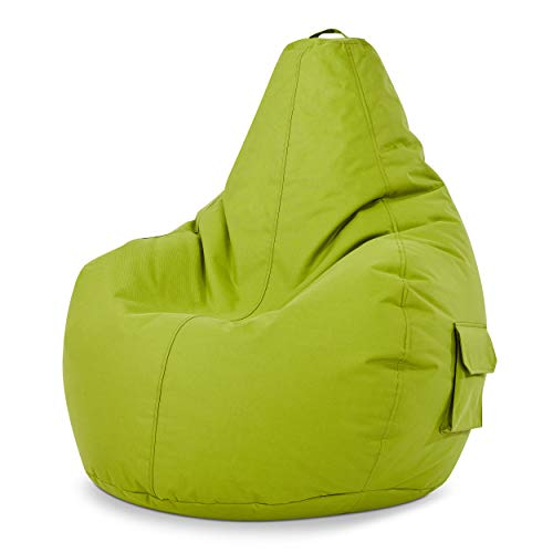 Green Bean © Cozy Beanbag, Gaming Sitzsack Sessel 80x70x90 cm, 230 Liter EPS Perlen Füllung, Indoor Gamingstuhl & Outdoor Gamer Sitzkissen, Bean Bag Lounge Chair für Kinder & Erwachsene, Grün