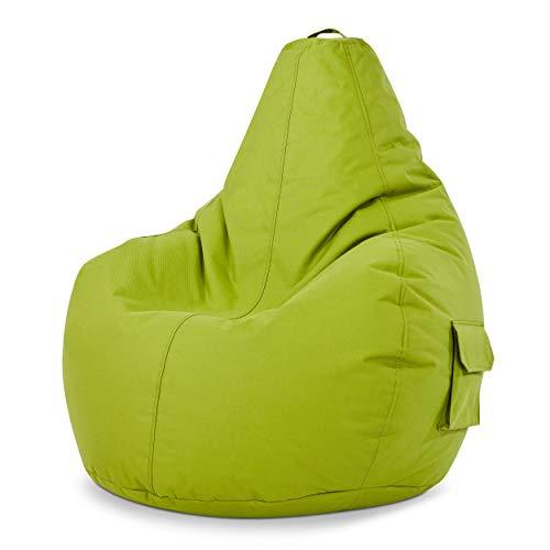 Green Bean  Cozy Gaming Beanbag, Poltrona a sacco, sedia da gioco 80x70x90 cm, 230 litri di riempimento con perline in EPS, puff per interno e esterno, Gamer pouf per bambini e adulti, Verde