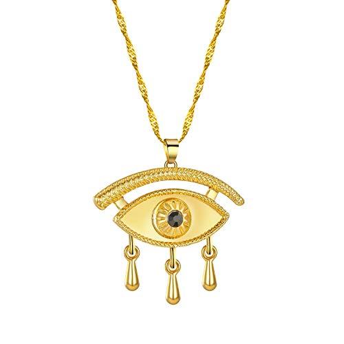 SWAOOS Cruz de Cristal Dorado Ankh Punk Collar Hombres crucifijo Vintage Antiguo Retro Ojos malvados Collar de Mujer egipcia