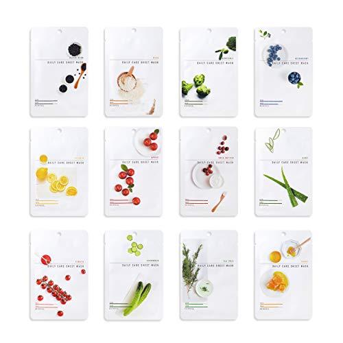 Eunyul [Paquete De 12] Paquete De Mascarilla Facial De Cuidado Diario (12 Tipos) Ingredientes Coreanos Hidratantes Y Nutritivos Para El Cuidado De La Piel Y Naturales Para Todo Tipo De Piel