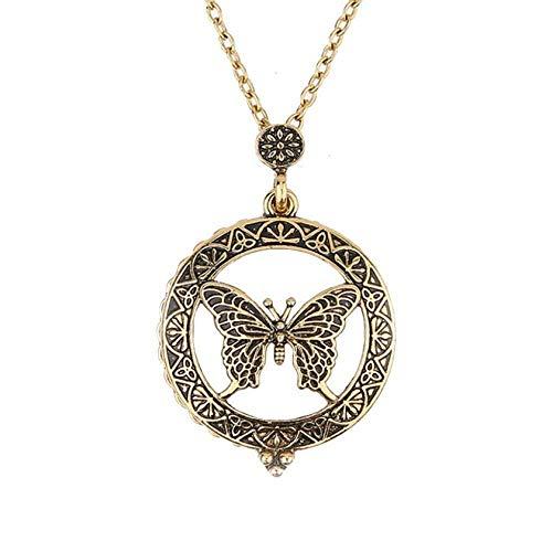 LXDxl Collar Cadena Espejo de la Mariposa Colgante de Collar suéter 2.5X Lupa for la joyería...